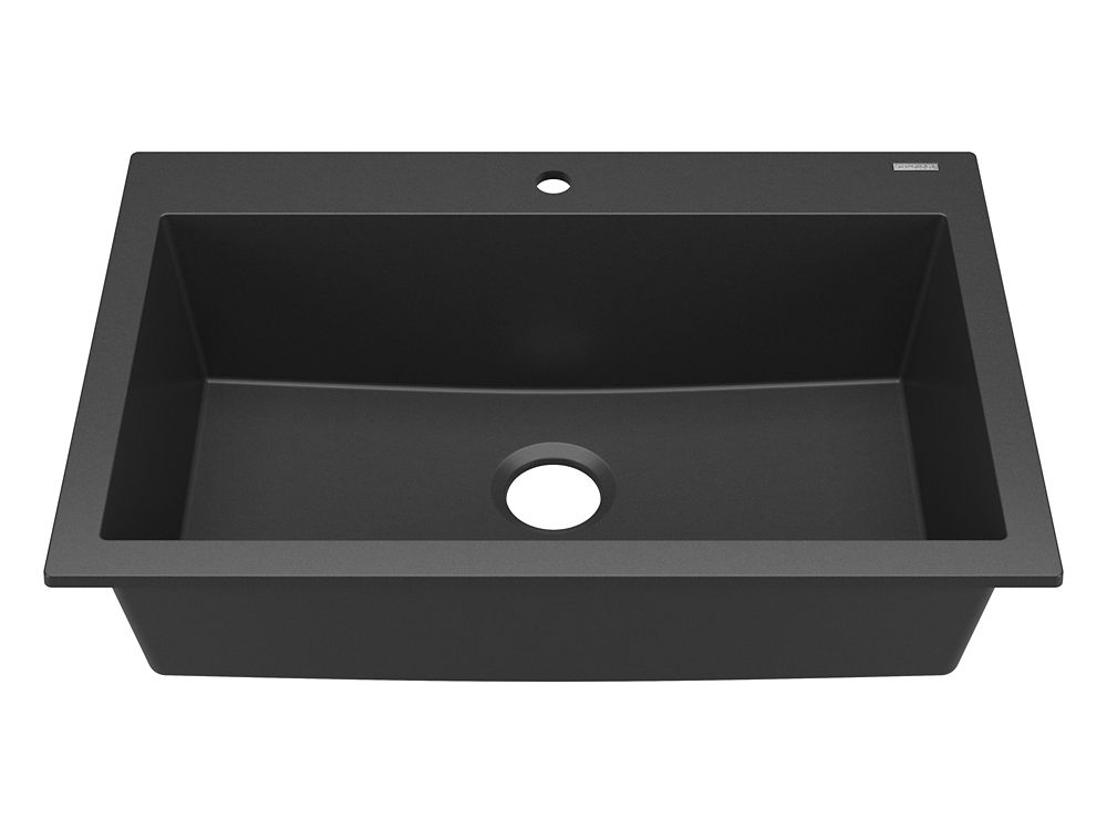 Sinkology Camille Drop-In or Undermount Granite Composite 33 in. Single Bowl Kitchen Sink in Matte Black