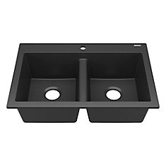 Whitney Drop-In or Undermount Granite Composite 33 in. Double Bowl Kitchen Sink in Matte Black