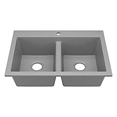 Whitney Drop-In or Undermount  Granite Composite 33 in. Double Bowl Kitchen Sink in Graphite Gray