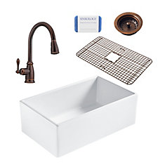 Bradstreet II Farmhouse Fireclay 30 in. Single Bowl Kitchen Sink, Pfister Canton Faucet and Drain