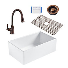 Bradstreet II Farmhouse Fireclay 30 in. Single Bowl Kitchen Sink, Pfister Canton Faucet and Disposal