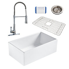 Bradstreet II Farmhouse Fireclay 30 in. Single Bowl Kitchen Sink, Pfister Zuri Faucet and Drain