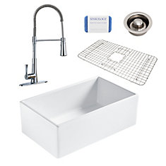 Bradstreet II Farmhouse Fireclay 30 in. Single Bowl Kitchen Sink, Pfister Zuri Faucet and Disposal