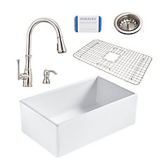Bradstreet II Farmhouse Fireclay 30 in. Single Bowl Kitchen Sink, Pfister Wheaton Faucet and Drain