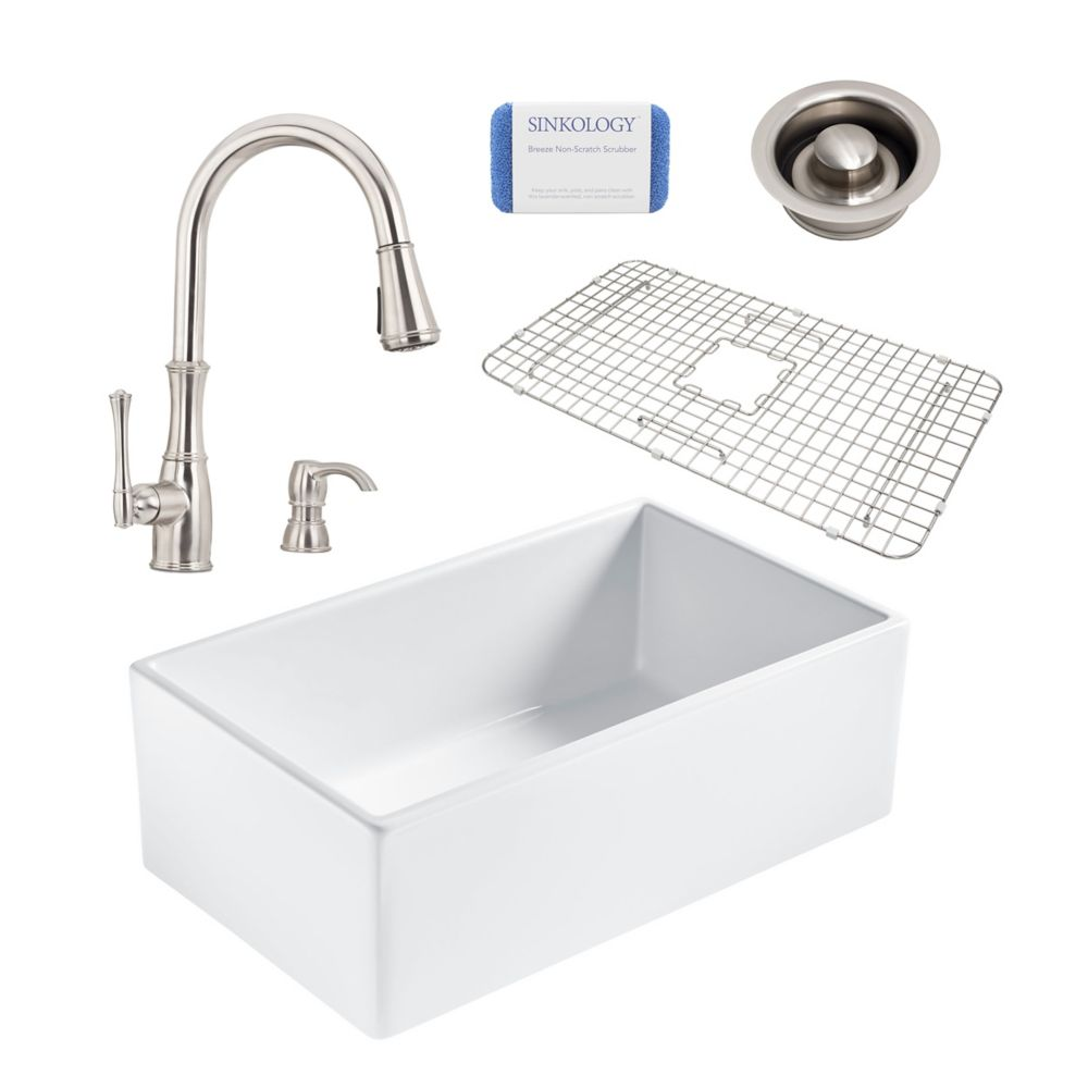 Sinkology Bradstreet II Farmhouse Fireclay 30 in. Single Bowl Kitchen Sink, Pfister Wheaton Faucet, Disposal