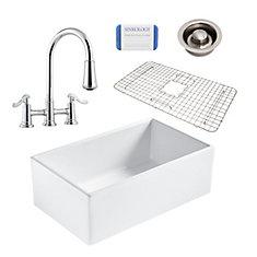 Bradstreet II Farmhouse Fireclay 30 in. Single Bowl Kitchen Sink, Pfister bridge faucet, Disposal