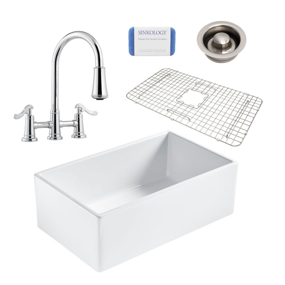 Sinkology Bradstreet II Farmhouse Fireclay 30 in. Single Bowl Kitchen Sink, Pfister bridge faucet, Disposal