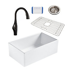 Bradstreet II Farmhouse Fireclay 30 in. Single Bowl Kitchen Sink, Pfister Kai Faucet and Drain