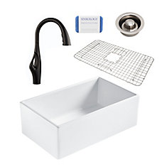 Bradstreet II Farmhouse Fireclay 30 in. Single Bowl Kitchen Sink, Pfister Kai Faucet, Disposal