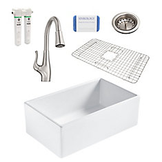 Bradstreet II Farmhouse Fireclay 30 in. Single Bowl Kitchen Sink, Pfister Clarify Faucet and Drain