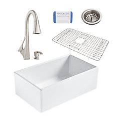 Bradstreet II Farmhouse Fireclay 30 in. Single Bowl Kitchen Sink, Pfister Venturi Faucet and Drain