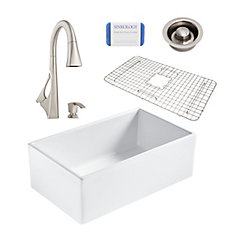Bradstreet II Farmhouse Fireclay 30 in. Single Bowl Kitchen Sink, Pfister Venturi Faucet, Disposal