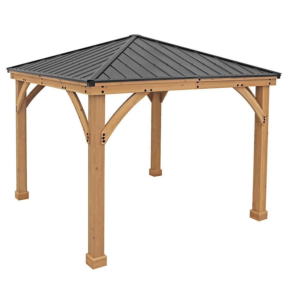 Yardistry Pavillon de jardin avec toit en aluminium Meridian, 10 pi ...
