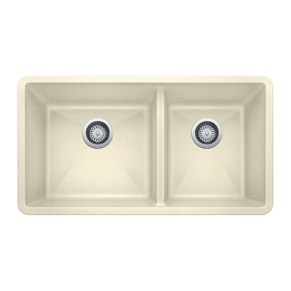 Blanco PRECIS U 1.75, Double Bowl Undermount Kitchen Sink - Biscuit SILGRANIT Granite Composite
