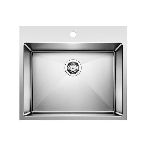 "QUATRUS R15 LAUNDRY Sink, 12"" Deep Single Bowl, Dual Mount - Stainless Steel"