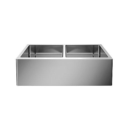 QUATRUS R15 U 2 APRON Front Undermount Kitchen Sink, Double Bowl - Stainless Steel
