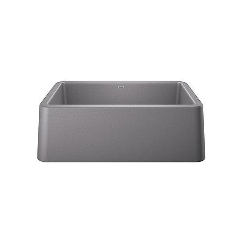 Blanco IKON 30, Single Bowl Farmhouse Kitchen Sink, SILGRANIT Metallic Gray