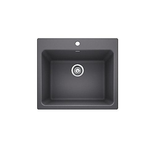 "LIVEN LAUNDRY Sink, 12"" Deep Single Bowl, Dual-Mount - Cinder SILGRANIT Granite Composite"