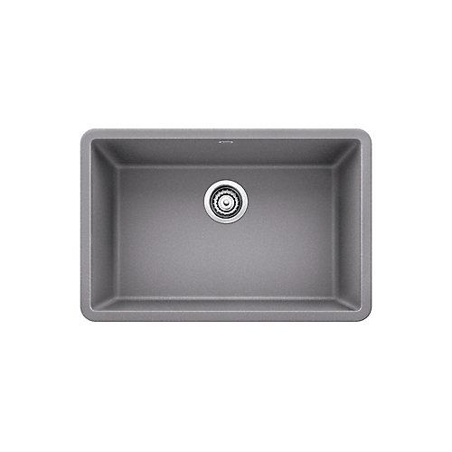 PRECIS U SINGLE 27, Single Bowl Undermount Kitchen Sink - Metallic Gray SILGRANIT Granite Composite