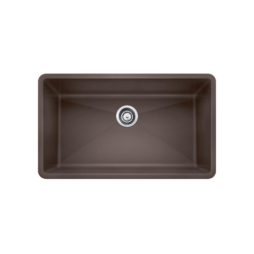 Blanco PRECIS U SINGLE 27, Single Bowl Undermount Kitchen Sink - Biscuit SILGRANIT Granite Composite