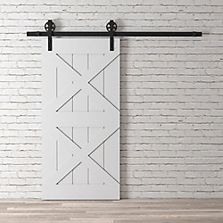 URBAN WOODCRAFT 83x40 Inch Classic Grey Two X Barn Door Kit with Hardware