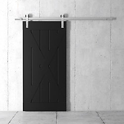 URBAN WOODCRAFT 83x40 Inch Tall X Barn Door Kit with Hardware in Espresso