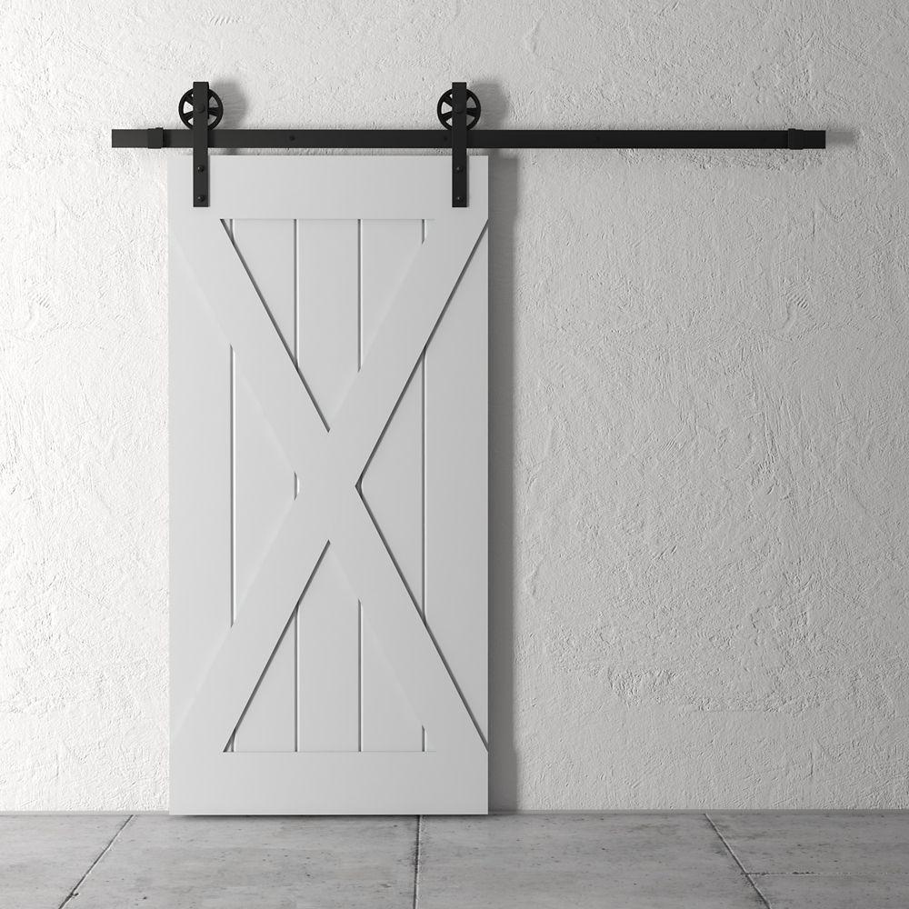 URBAN WOODCRAFT 83x40 Inch Tall X Barn Door Kit with Hardware in Grey