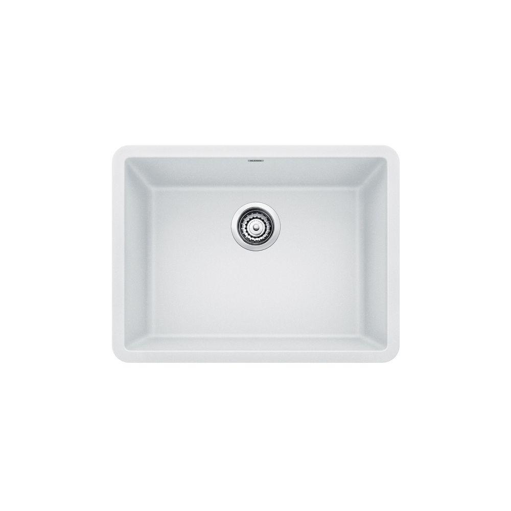 Blanco PRECIS U SINGLE 24, Single Bowl Undermount Kitchen Sink - White SILGRANIT Granite Composite
