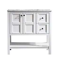 Vinnova Florence 36 inch Vanity in White with Carrara White Marble Countertop Without Mirror