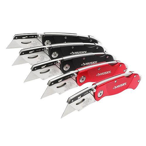Husky Folding Lock-Back Utility Knife (5-Piece)
