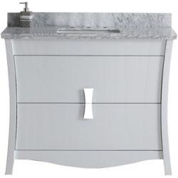 American Imaginations 47.6 inch W Floor Mount White Vanity Set For 3H8 inch Drilling Carrara Top Biscuit UM Sink