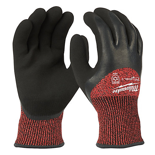 X-Large Red Nitrile Dipped Cut 3 Resistant Winter Insulated Work Gloves