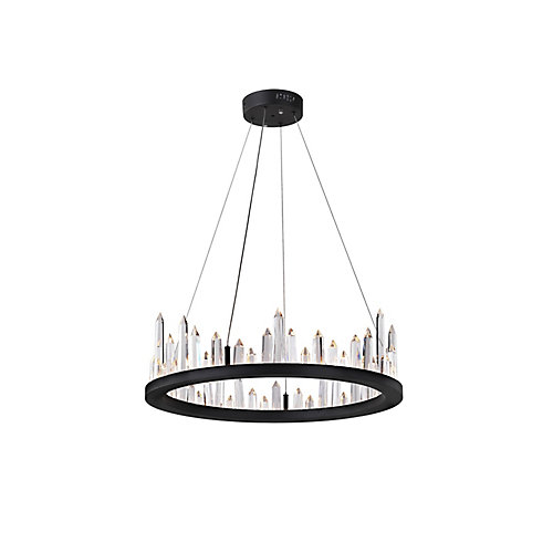 24 inch LED Chandelier with Black Finish From our Juliette Collection