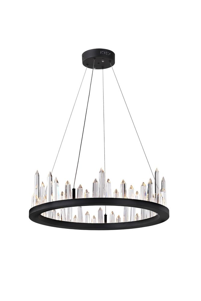 CWI Lighting 24 inch LED Chandelier with Black Finish From our Juliette Collection