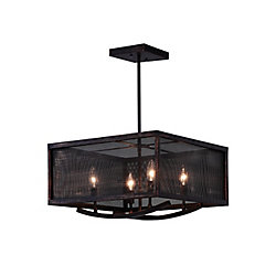 CWI Lighting 18 inch 4 Light Chandelier with Antique Copper Finish From our Calypso Collection