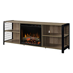 Asher Media Console Electric Fireplace with Log Bed