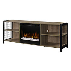 Asher Media Console Electric Fireplace with Glass Ember Bed