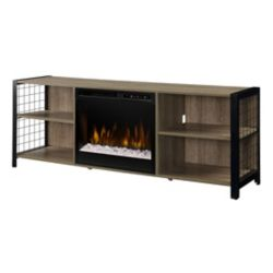 Dimplex Asher Media Console Electric Fireplace with Glass Ember Bed