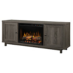 Jesse Media Console Electric Fireplace with Log Bed