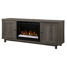 Jesse Media Console Electric Fireplace With Glass Ember Bed