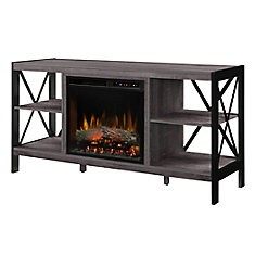 Ramona Media Console Electric Fireplace with Log Bed