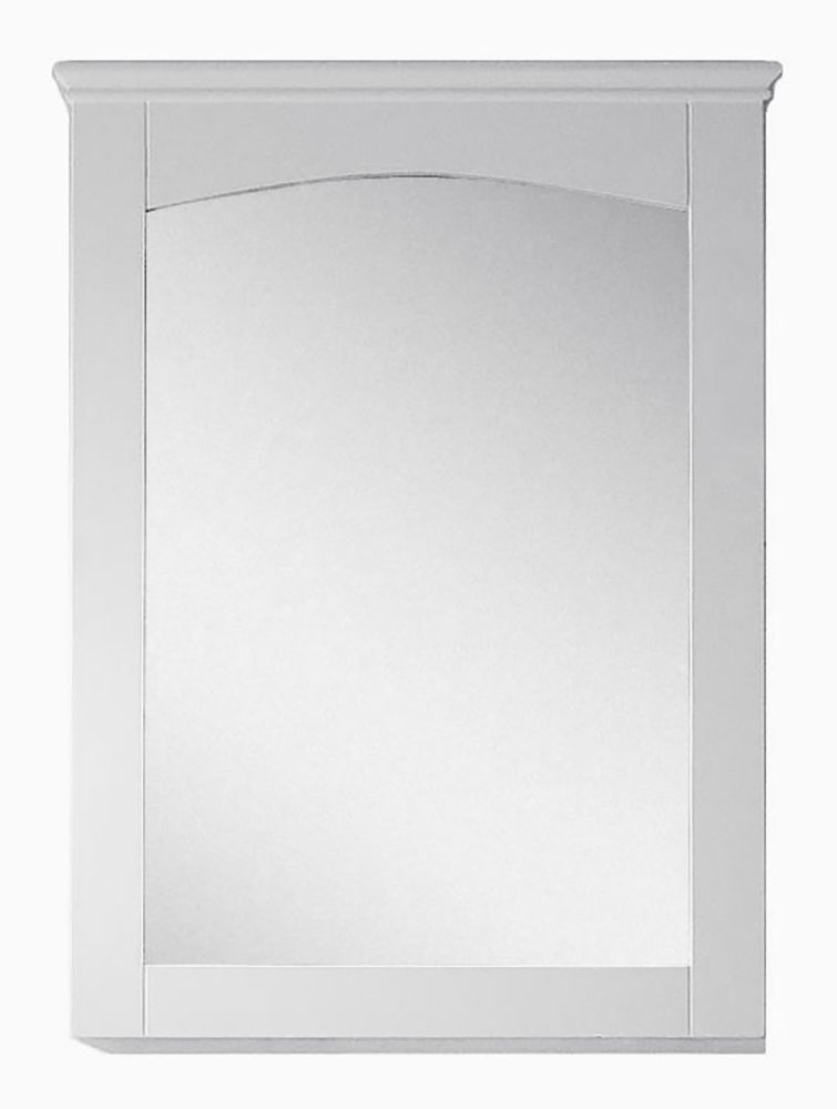 American Imaginations 24 inch W 31.5 inch H Modern Plywood-Veneer Wood Mirror In White