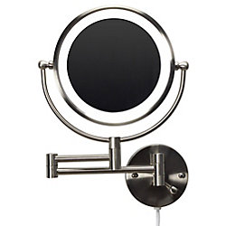 American Imaginations 20.83 inch W Round Brass-LED Wall Mount Magnifying Mirror In Brushed Nickel Color