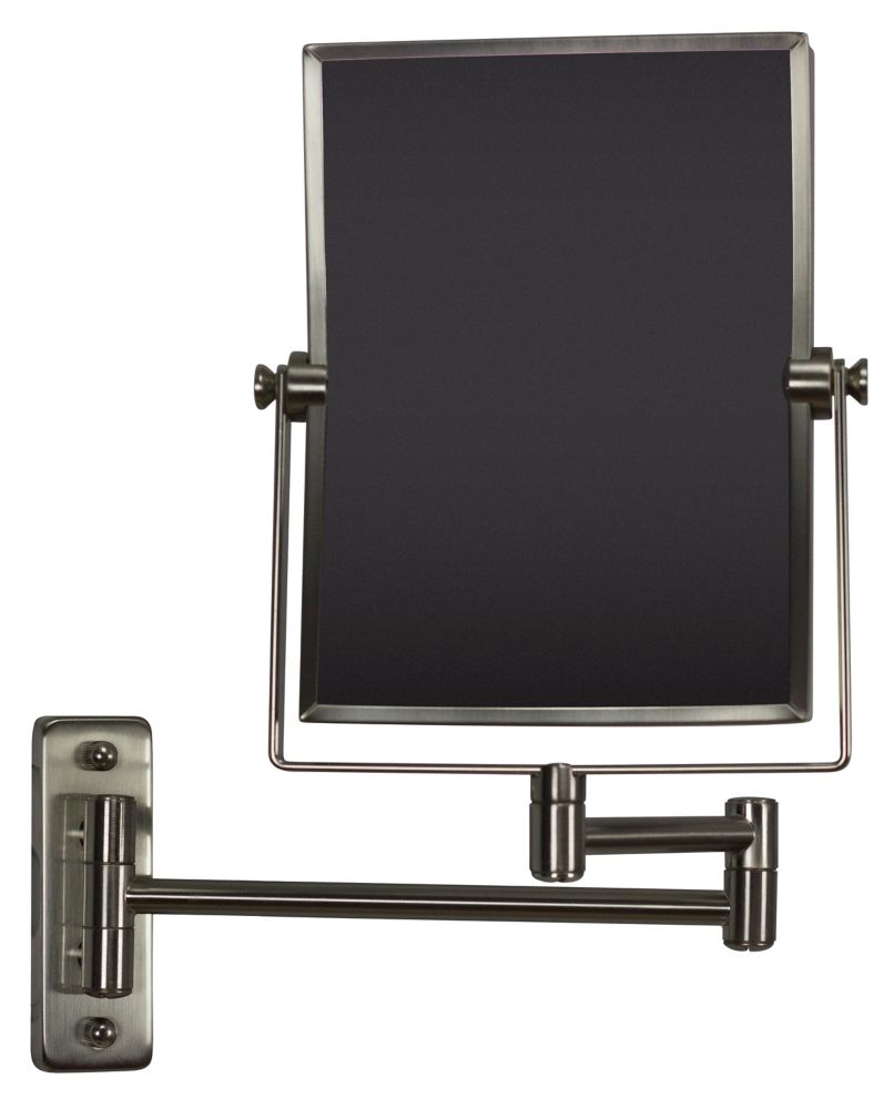 American Imaginations 16.36 inch W Rectangle Brass-Mirror Wall Mount Magnifying Mirror In Brushed Nickel Color