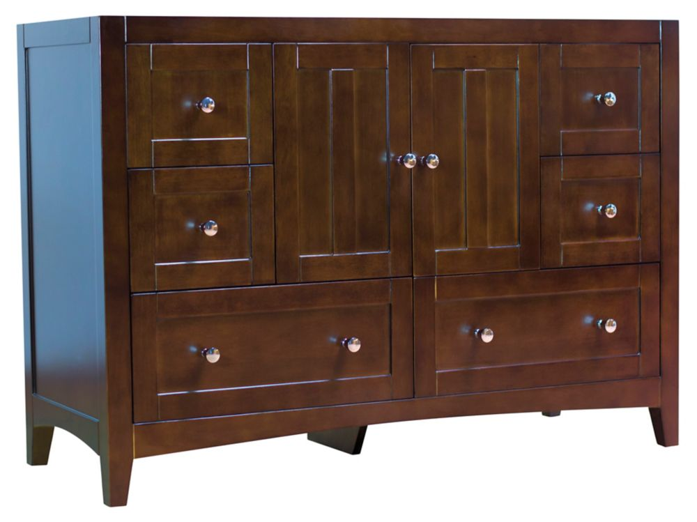 American Imaginations 46.5 inch W 18 inch D Modern Plywood-Veneer Vanity Base Only In Walnut