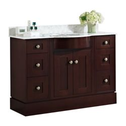 American Imaginations 48 inch W Floor Mount Coffee Vanity Set For 3H8 inch Drilling Carrara Top White UM Sink
