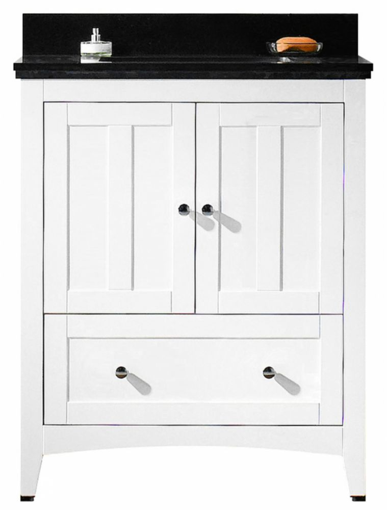 American Imaginations 30.5 inch W Floor Mount White Vanity Set For 1 Hole Drilling Black Top White UM Sinkl with Legs