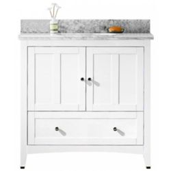 American Imaginations 36 inch W Floor Mount White Vanity Set For 3H4 inch Drilling Carara Top White UM Sink