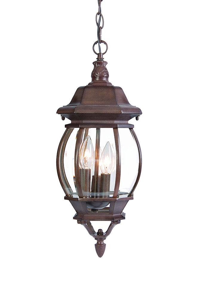 Acclaim Cau Collection 3 Light Hanging Lantern Outdoor Burled Walnut Fixture