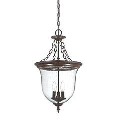Belle collection lanterne suspendue 3-luminaire extérieur en bronze architectural